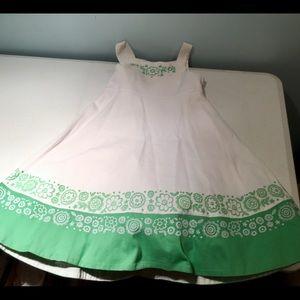 GIRLS CHILDREN'S PLACE DRESS SIZE 8 WHITE & GREEN
